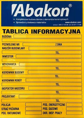 TABLICA Informacyjna Budowlana Na Budowę DUŻA BIOZ