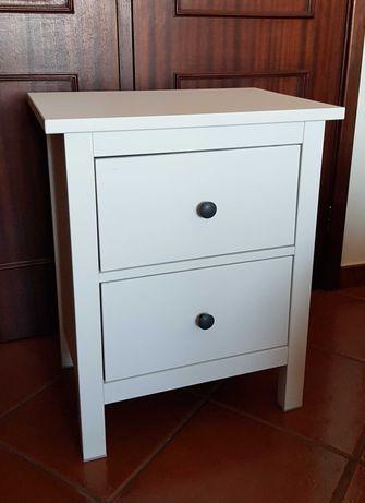 Mesa de Cabeceira IKEA Hemnes Velatura Branca - Cómoda de 2 Gavetas