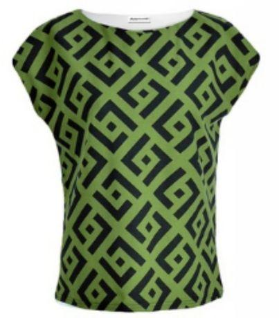 Bluzka damska S M L zielona czarna wzór geometryczny