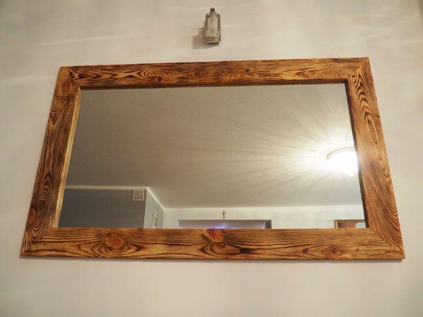Lustro w drewnianej ramie, styl LOFT