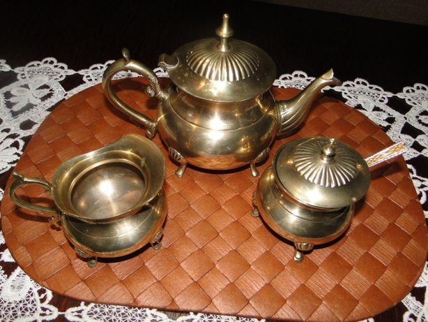 mosiężny zestaw do herbaty