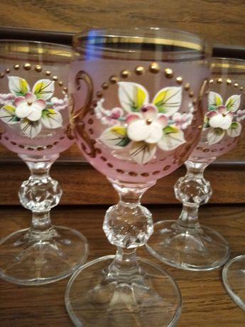 Набор рюмок из Богемского стекла 60 мл. Лепка фон розовый
