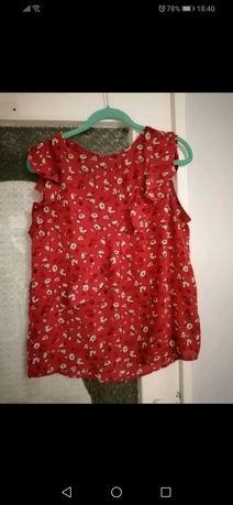 Piękna dziewczęca bluzka w kwiaty czerwona terranova