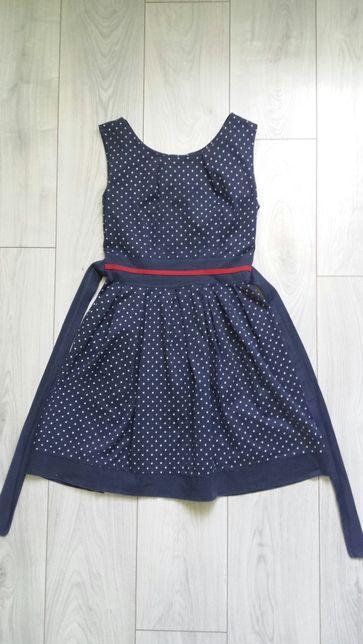 Granatowa sukienka w groszki rozmiar 36 S