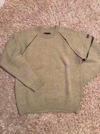 Męski ciepły sweter w kolorze piaskowym rozm. L
