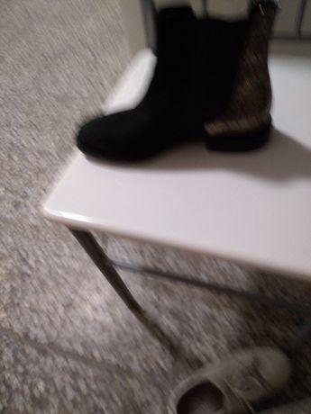 Ботинки черные, искуственный замш