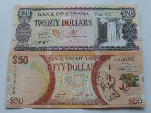 Banknoty GUJANA - Z PACZKI BANKOWEJ - Zestaw Kolekcjonerski