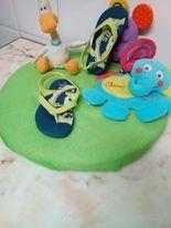 Sandálias borracha c/tiras verdes alface, Usadas em bom estado