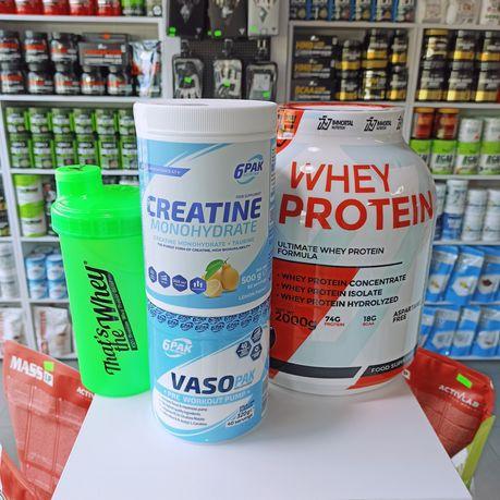 Zestaw Odżywek Białko, Kreatyna Przedtreningówka i Shaker, Masa i Siła