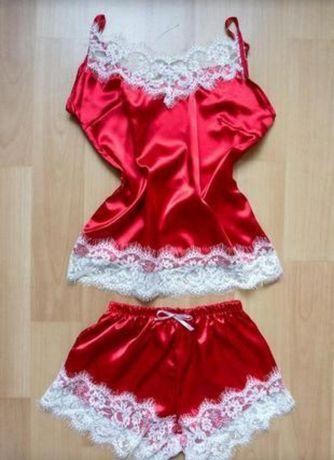 Пижама майка шорты новогодняя красная шелковая