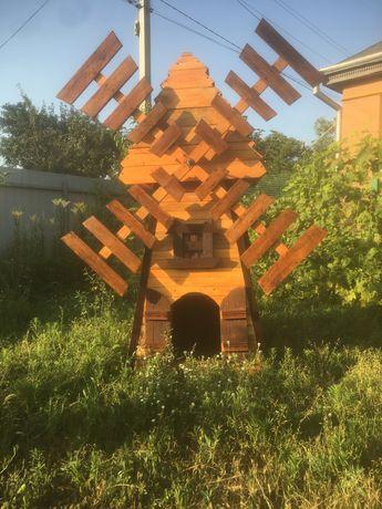 Мельница-декор для вашего двора +будка для средней собаки