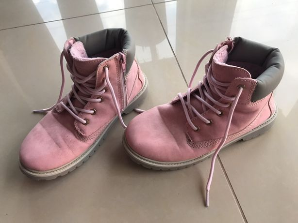 Różowe ocieplane buty botki kozaczki na suwak sznurówki 36 zimowe