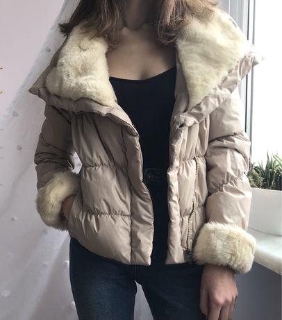 Pikowana kurtka brudny róż/beż