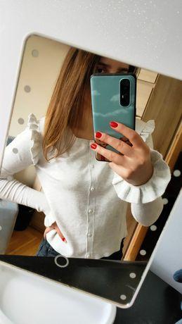 Zara nowy sweter sweterek szary falbanki krótki kardigan s