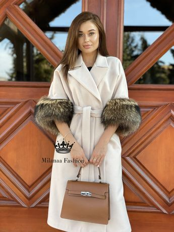 Пальто із хутром єнота