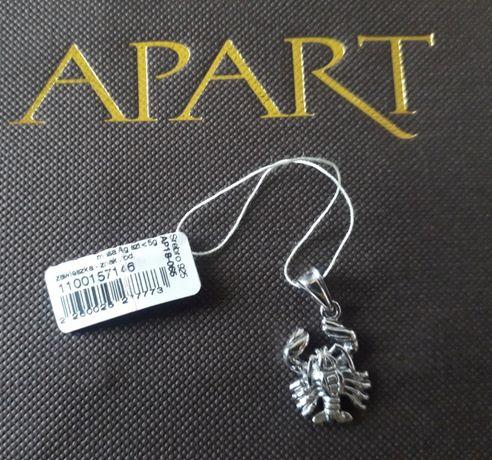 Srebrna zawieszka Rak Apart znak zodiaku NOWA pudełko torba prezent