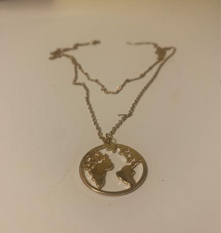 Naszyjnik łańcuszek globus ziemia złoty