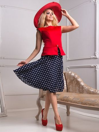 Платье красно-синее в горошек FlfaShion Лка