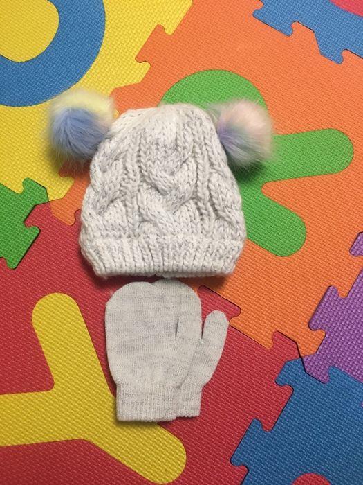 Шапка з рукавичками, набір зима весна осінь9-18міс 44-46 Ирпень - изображение 1