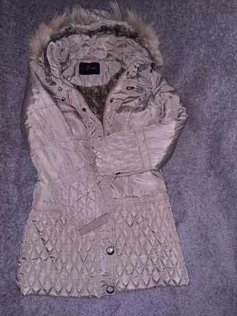 Szary zimowy płaszczyk S