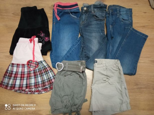 Jeansy spodnie spodenki spódniczki 110 + gratis