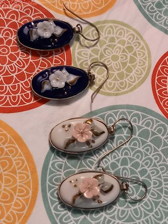Porcelanowe kolczyki. Ręcznie malowane