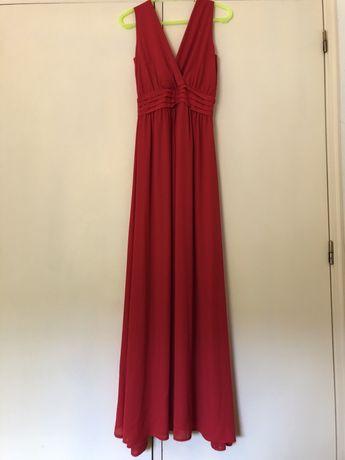 Vestido comprido vermelho lariga
