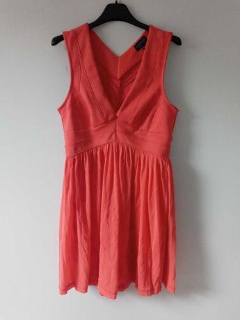 Koralowa sukienka Topshop M/L