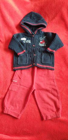 Rozpinana granatowa bluza + czerwone spodnie