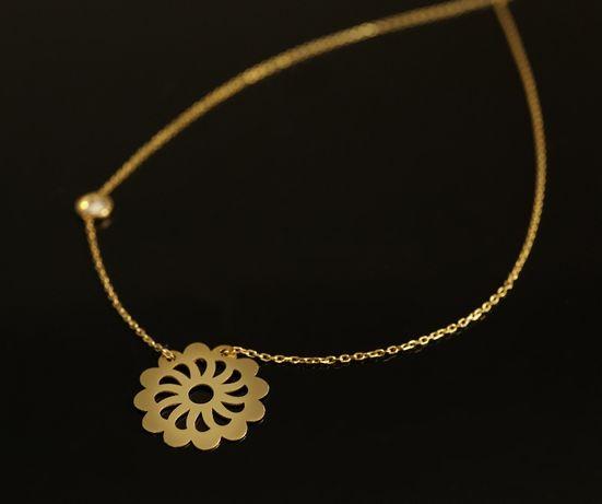 Złoto 585 - złoty łańcuszek Celebrytka z zawieszką