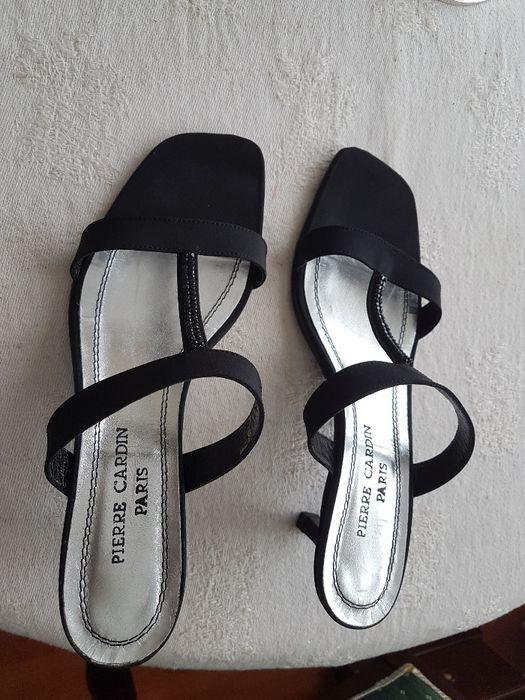 Sandálias pretas pierre Cardin novas cetim pele e cristais swarovsky Porto - imagem 1