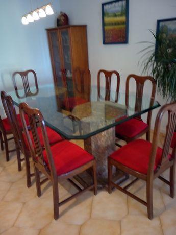 Mesa de jantar vidro temperado 5 centrimos 8 cadeiras pés granito