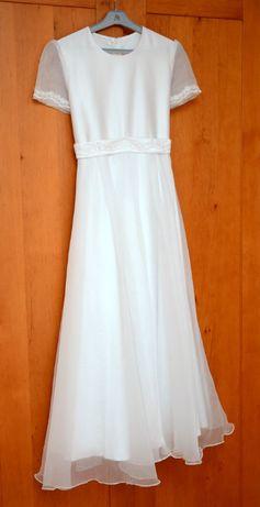 Suknia sukienka komunijna 152 bolerko +dodatki wianek