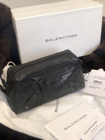 Косметичка Balenciaga кожаная маленькая черная, кошелек клатч черный