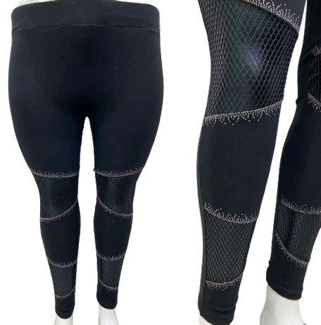 2XL*44 Czarne bawełniane legginsy z siateczką i cyrkoniami