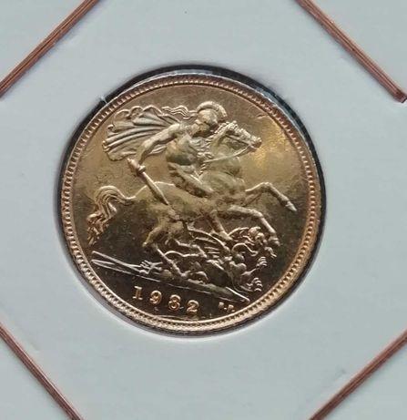 Meia Libra Elizabeth II 1982 ouro