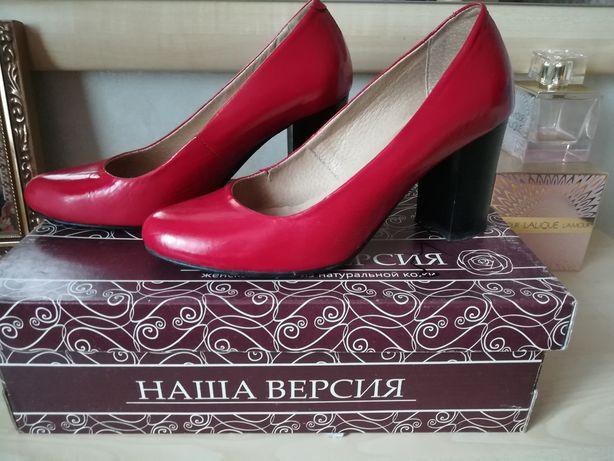Туфли кожаные, красные, р. 36-37