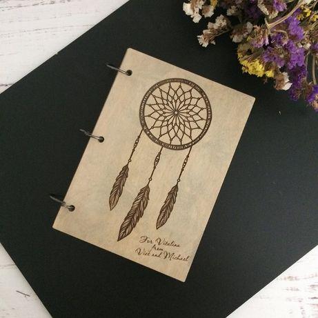 блокнот ловнц снов деревянный, отличный подарок на любое торжество