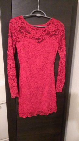 Czerwona koronkowa sukienka 36 S