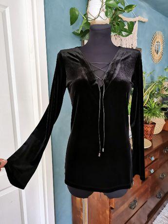 Czarna welurowa bluzka sznurowany dekolt wallis 40 L boho goth hippie