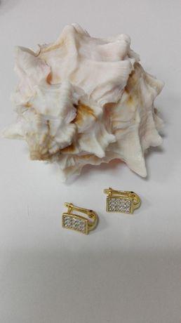 Złote kolczyki z cyrkoniami, próba 585