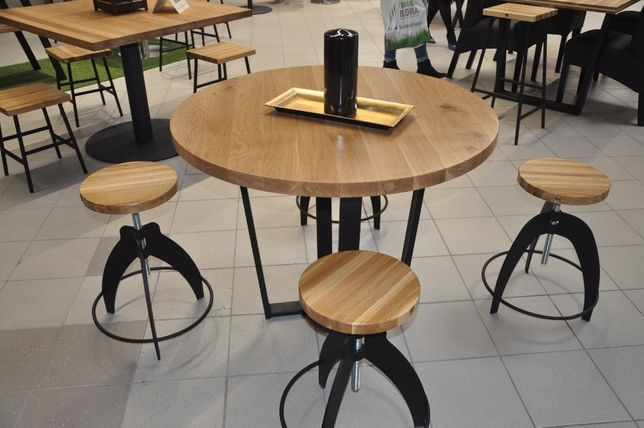 Stół Okrągły Blat Dębowy Lakierowany Industrialny