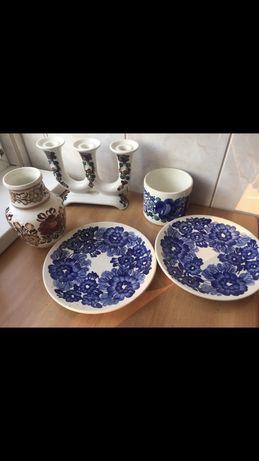 Stara Porcelana Koło ręcznie malowana fajans świecznik wazon talerz