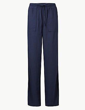 Трикотажные широкие брюки M&S средней посадки