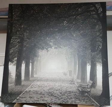 Obraz plener biało czarny droga 90cm / 90cm