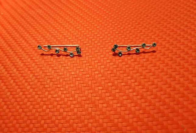Kolczyki nausznice srebrne, błękitne cyrkonie