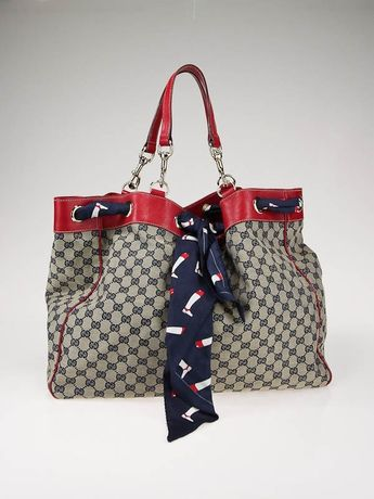Gucci Navy Blue/Beige GG Canvas Large Tote bag