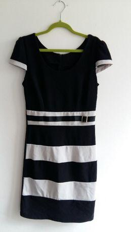Sukienka 36 S czarno-biała dopasowana