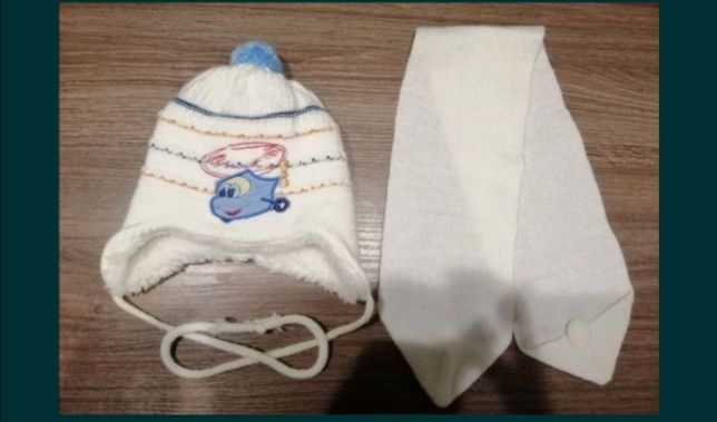 Шапка теплая с шарфом. Шапка для ребенка