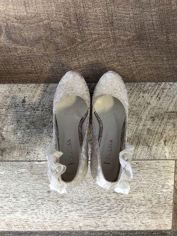 Туфли свадебные белые круживо